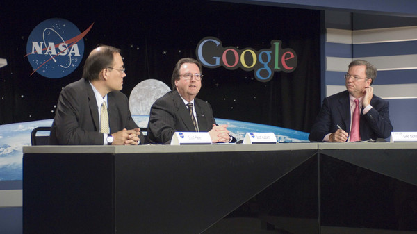 The Director of NASA Ames Research Center, Scott Hubbard with Google's Chairman of the Executive Committee and Chief Executive.