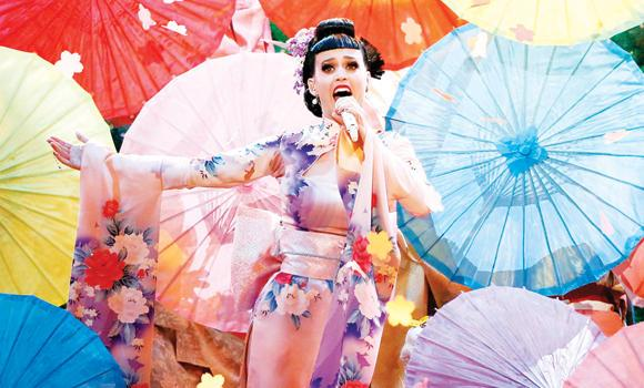 "Singer Katy Perry performs ""Unconditionally"" at the 41st American Music Awards in Los Angeles, on Sunday."