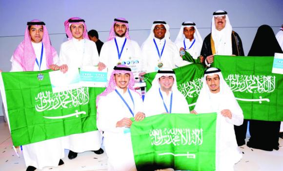 Some of the Saudi winners at the Intel Science Competition for the Arab world in Doha.