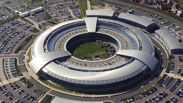 The GCHQ headquarters in Benhall, Cheltenham, Gloucestershire, UK.