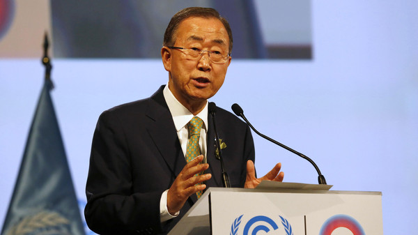 United Nations Secretary-General Ban Ki-moon gives a speech during the opening of the High Level Segment of the U.N. Climate Change Conference COP 20 in Lima.