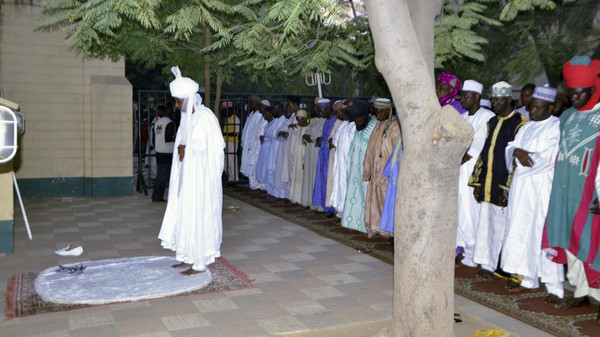Emir of Kano, Muhammed Sanusi II, leads evening prayers at Kano Central Mosque as part of his visit to inspect the premises in Kano November 29, 2014.