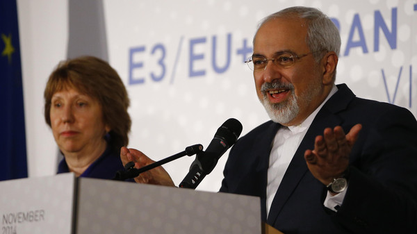 Iranian Foreign Minister Javad Zarif and EU envoy Catherine Ashton address a news conference after a meeting in Vienna.