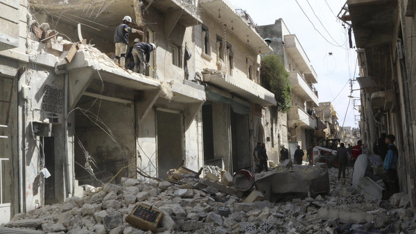 At least 45 civilians were killed and some 175 wounded when aircraft bombed a northern Syrian city.