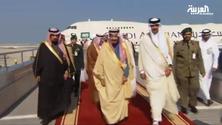 Qatar's Sheikh Tamim greets Saudi Crown Prince Salman upon arrival to Doha.