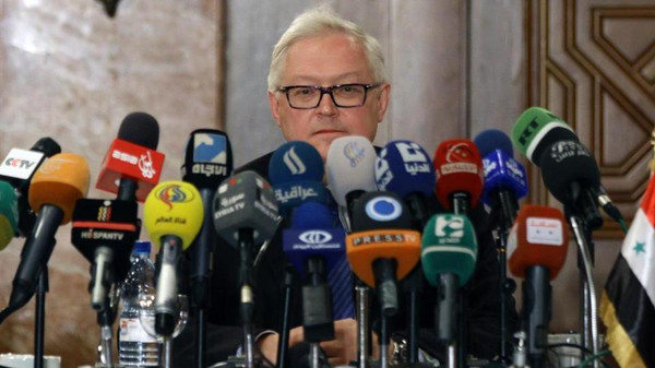 Russian Deputy Foreign Minister Sergei Ryabkov speaks during a press conference on June 28, 2014 in Damascus.