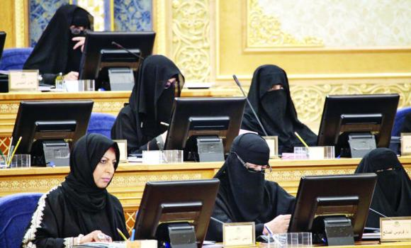 Women members of the Shoura Council attend the consultative body's regular session in Riyadh on Monday. (SPA)