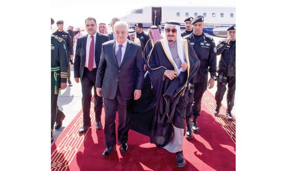 Custodian of the Two Holy Mosques King Salman receives Palestinian President Mahmoud Abbas at the Riyadh airport on Monday. (SPA)