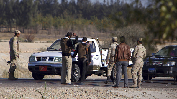 Egyptian soldiers man a checkpoint in el-Arish, 290 kilometers east of Cairo, North Sinai, Egypt, Saturday, Jan. 31, 2015.