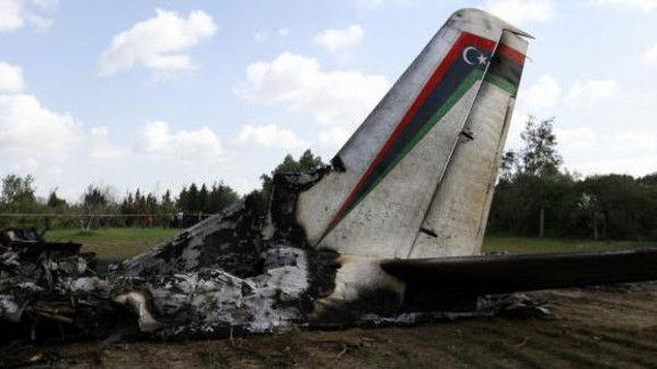 The wreckage of a Libyan military plane that crashed near Grombalia town, south of Tunis, is seen February 21, 2014.