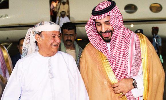 Defense Minister Mohammed bin Salman receives Yemeni President Abed Rabbo Mansour Hadi in Riyadh on Thursday. (SPA)