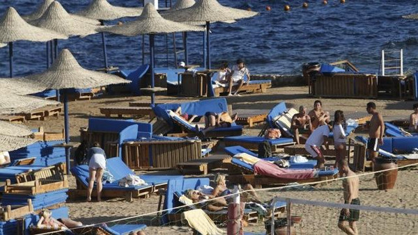 Foreign tourists in the Egyptian Red Sea resort of Sharm el-Sheikh.