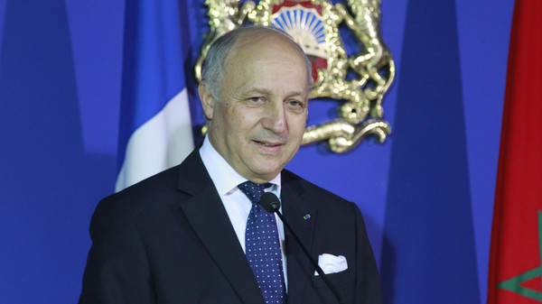 French Foreign Minister Laurent Fabius at a press conference in Rabat Monday, March 9, 2015.