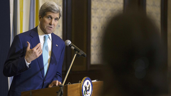 U.S. Secretary of State John Kerry answers a question from a reporter at a news conference in Sharm el-Sheikh March 14, 2015.