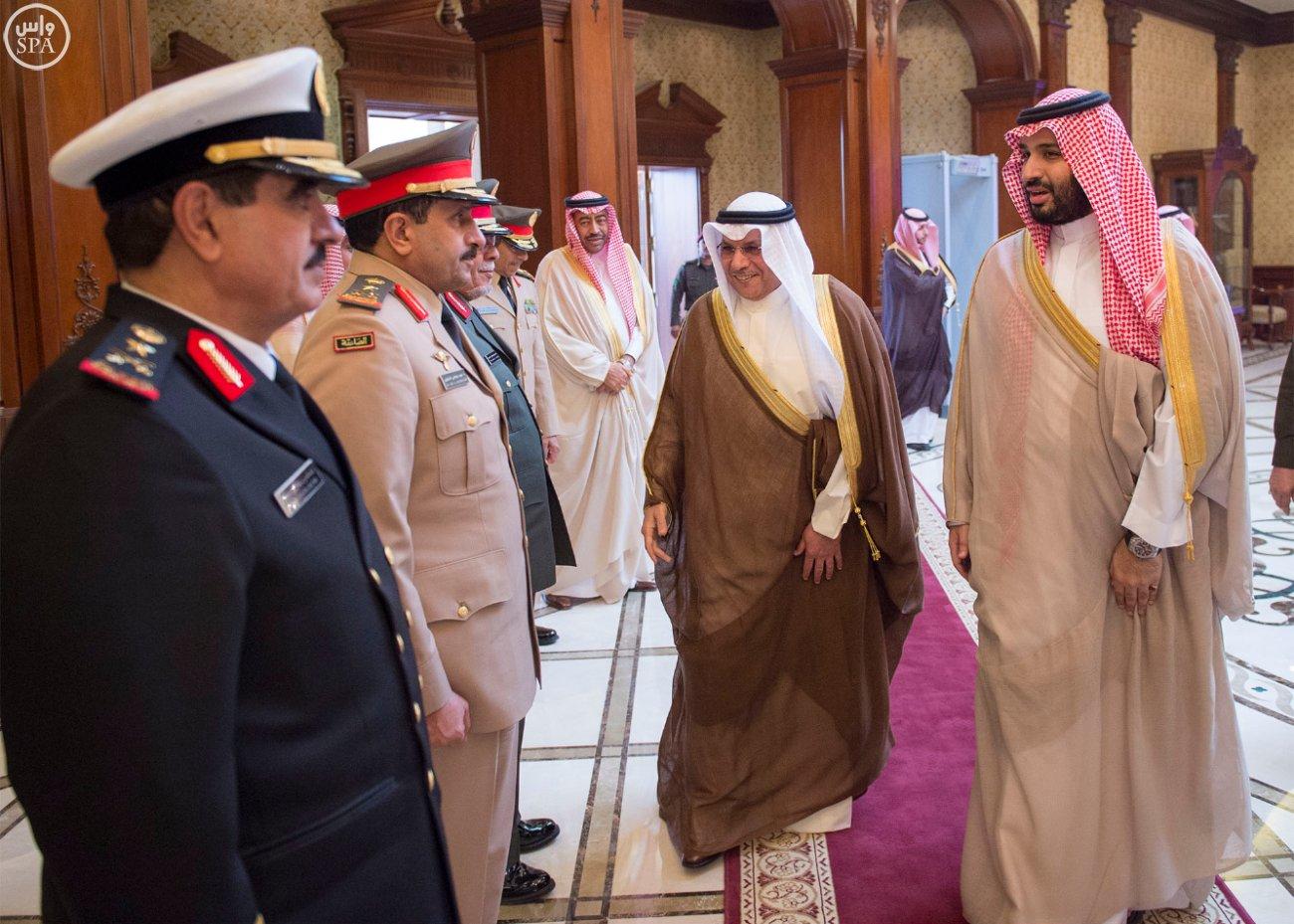 Saudi Arabia's Minister of Defense Prince Mohammed bin Salman bin Abdulaziz, right, and Kuwaiti Deputy Prime Minister and Minister of Defense Sheikh Khalid Al-Jarrah Al-Sabah. (SPA)