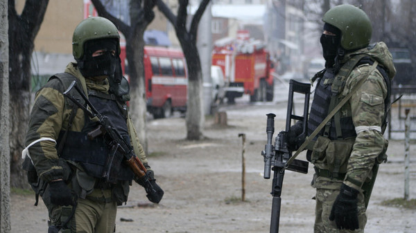 Russian special force soldiers during an anti-terrorist operation in Makhachkala, the capital of the Southern Russian republic of Dagestan on Jan. 20, 2014.