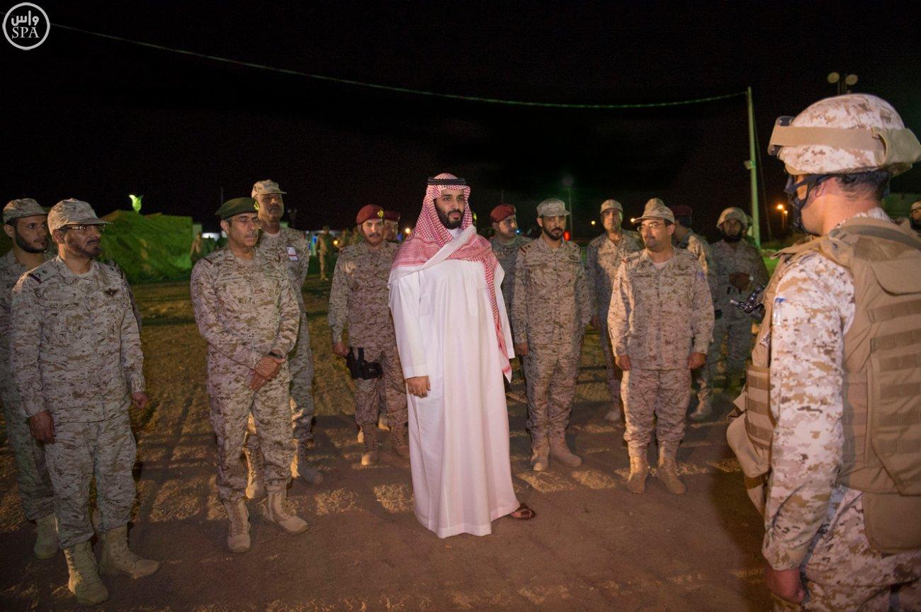 Saudi Defense Minister Prince Mohammed bin Salman bin Abdulaziz inspecting Saudi army units in the Southern Region. (SPA)