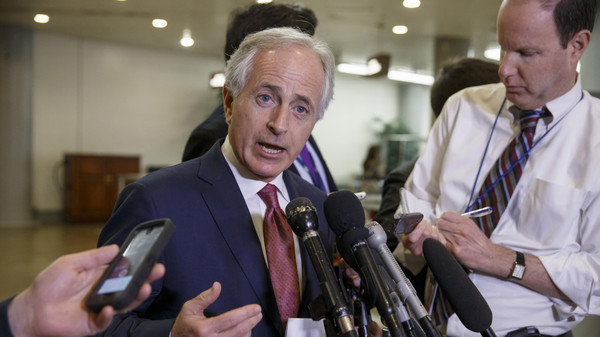 In this Feb. 10, 2015 file photo, Senate Foreign Relations Committee Chairman Sen. Bob Corker, R-Tenn. speaks to reporters on Capitol Hill in Washington.