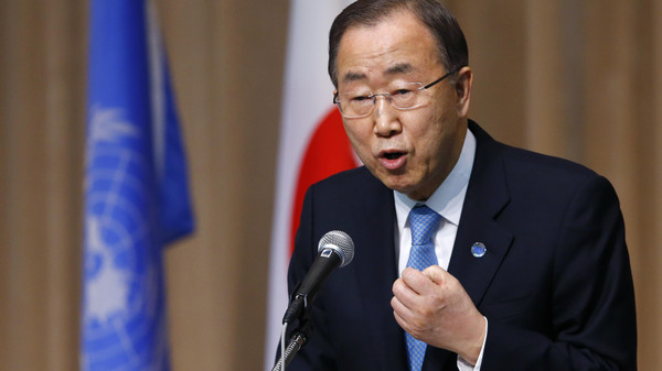 U.N. Secretary General Ban Ki-moon delivers a speech during a symposium of the 70th anniversary of the United Nations at the UN University in Tokyo, Monday, March 16, 2015.