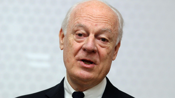 In this Feb. 13, 2015, file photo, UN Special Envoy for Syria Staffan de Mistura informs the media after talks with Austrian Foreign Minister Sebastian Kurz at the foreign ministry in Vienna, Austria.
