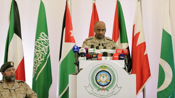 Saudi military spokesman Ahmed Asiri briefs journalists on the Saudi-led coalition's strikes on Houthi rebels in Yemen, during a press conference, in Riyadh.