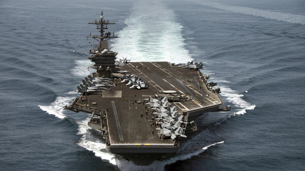 Army Colonel Steve Warren, a Pentagon spokesman, dismissed reports the carrier USS Theodore Roosevelt and cruiser USS Normandy had been sent to the region.