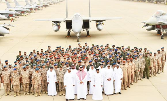 Defense Minister Prince Mohammed bin Salman and Abu Dhabi Crown Prince Sheikh Mohammed bin Zayed Al-Nahyan with coalition air force fighters at King Fahd Airbase in Taif on Sunday. Prince Mohammed and Sheikh Mohammed bin Zayed also reviewed the outcome of the Saudi-led alliance's military operation to restore legitimacy in Yemen. (SPA)