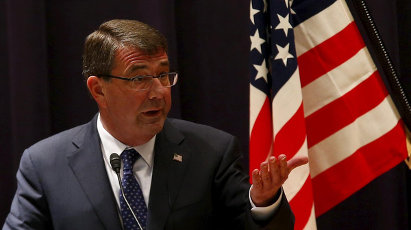Defense Secretary Ash Carter said he is not prepared to say whether the U.S. would be willing to forcibly stop and board one of the Iranian ships if it tries to cross into Yemen.