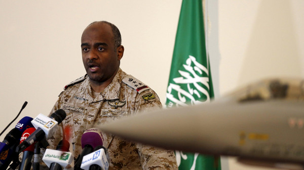The official spokesman for the Saudi Ministry of Defense Gen. Ahmed Hassan al-Asiri speaks during news conference in Riyadh March 26, 2015.