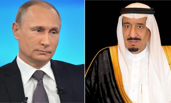 Russian President Vladimir Putin (L) and Custodian of the Two Holy Mosques King Salman.