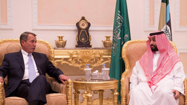 Saudi Minister of Defense Prince Mohammed bin Salman meets the Speaker of U.S. House of Representatives John Boehner in Riyadh. (SPA)