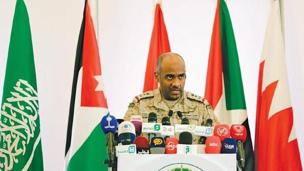 Saudi military spokesman Ahmed Asiri briefs journalists about the air strikes in Yemen.