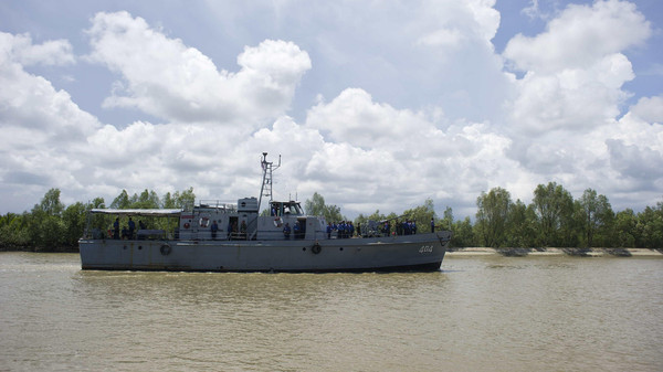 A Myanmar navy ship is seen near Haigyi island, NgaPuTaw Township, Irrawaddy Division on May 30, 2015.