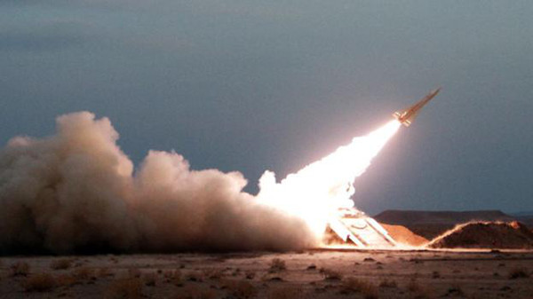 An Iranian Hawk surface-to-air missile. Iran supplies its ally Hezbollah with ballistic missiles used against Israel.