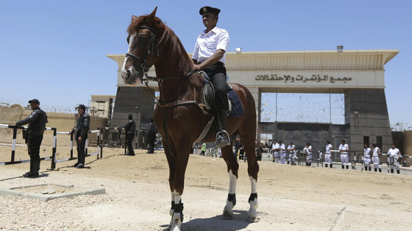 A policeman on horseback takes position during the trial of ousted Egyptian President Mohamed Mursi and Muslim brotherhood leaders at a court in the outskirts of Cairo, Egypt May 16, 2015.