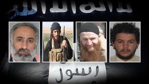 ISIS leaders (left to right): Abd al-Rahman Mustafa al-Qaduli, Abu Mohammed al-Adnani, Tarkhan Tayumurazovich Batirashvili and Tariq Bin-al-Tahar Bin al Falih al-'Awni al-Harzi.