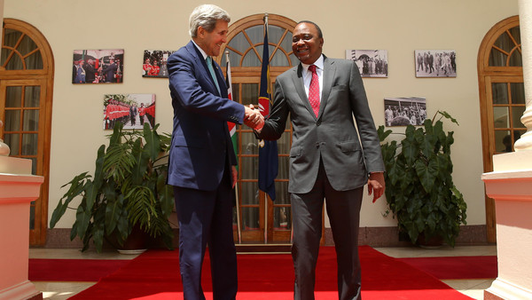 John Kerry was greeted in Somalia by the Somali president as the first top U.S. to ever visit Somalia.