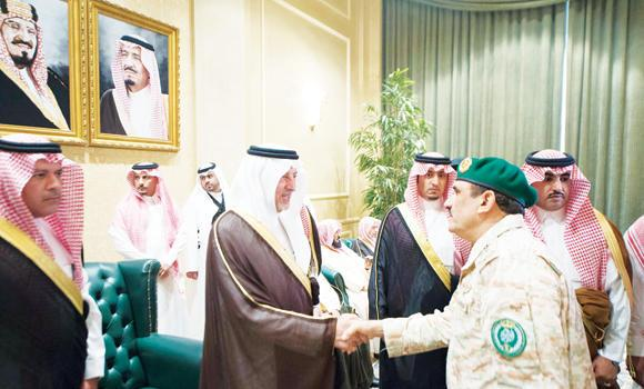 Makkah Gov. Prince Khaled Al-Faisal receives military officers who came to pledge their allegiance to the new Crown Prince Mohammed bin Naif and Deputy Crown Prince Mohammed bin Salman at his office in Makkah on Sunday.