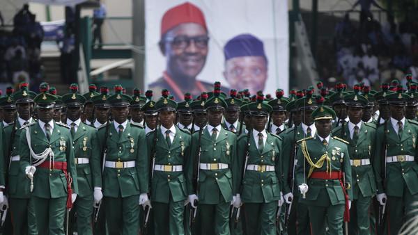 Nigeria Soldiers parade during the inauguration of the new Nigerian President, Muhammadu Buhari, in Abuja , Nigeria, Friday, May 29, 2015.