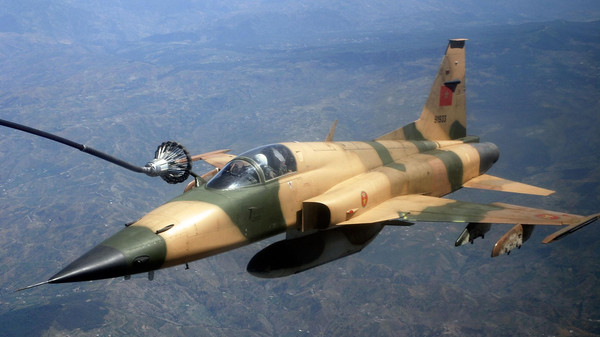 Royal Moroccan Air Force F-5E Tiger III during an aerial refueling mission in Africa.