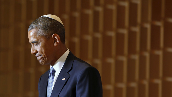 U.S. President Barack Obama pauses during remarks on Jewish American History Month at the Adas Israel Congregation synagogue in Washington May 22, 2015.