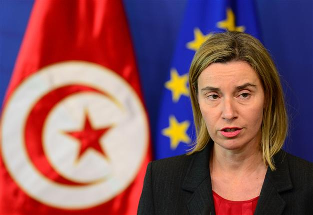 EU Foreign policy chief Federica Mogherini gives a joint press conference with Tunisian Prime Minister (unseen) after their meeting on May 27, 2015 at EU headquarters in Brussels.