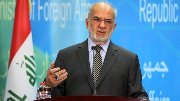 Iraqi Foreign Minister Ibrahim al-Jaafari speaks during a press conference with his Qatari counterpart Khalid bin Mohammed al-Attiyah in Baghdad, Iraq.