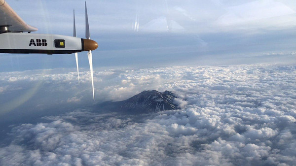 The Nagano mountain area is pictured by Swiss pilot Borschberg in the cockpit of the Solar Impulse 2 plane during the 7th leg of the round the world trip.