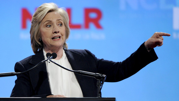 U.S. Democratic Presidential candidate Hillary Clinton speaks at the National Council of La Raza conference in Kansas City Missouri.