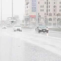 Heavy rain lashes Tabuk on Monday. — SPA
