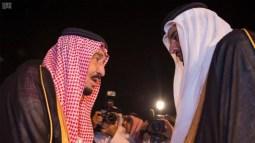 Saudi King Salman arrives in Qatar to offer his condolences following the death of the Gulf country's former Emir Sheikh Khalifa bin Hamad Al-Thani.