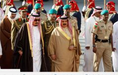 Emir of Kuwait, Sabah Al-Ahmad Al-Jaber Al-Sabah is received by Bahrain's King Hamad bin Isa Al-Khalifa upon his arrival at Sakhir VIP airport to attend the Gulf Cooperation Council's (GCC) 37th Summit, Bahrain, December 6, 2016.