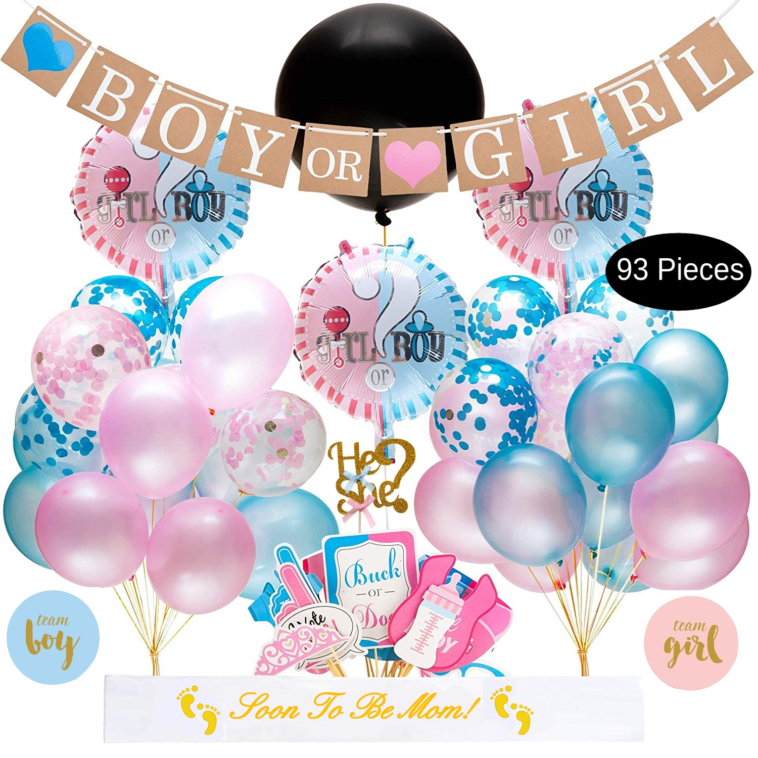 Baby Gender Reveal Party Supplies Kit - 93 Piece Baby ...