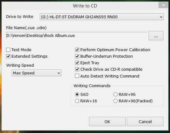 Write to CD Settings